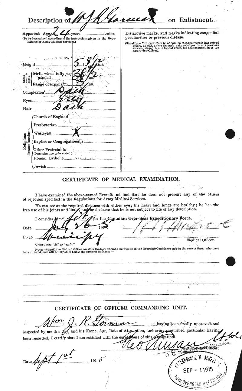 Canadian Attestion Papers - William J R Gorman 2/2