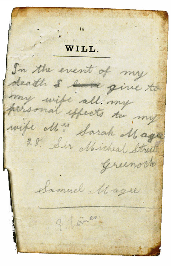 Samuel Magee : Handwritten Will